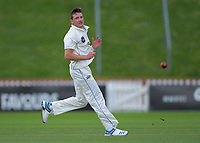 Otago's Nathan Smith on day one of the Plunket Shield cricket match between the Wellington Firebirds and Otago Volts at Basin Reserve in Wellington, New Zealand on Monday, 21 October 2019. Photo: Dave Lintott / lintottphoto.co.nz