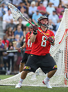 Baltimore, MD - April 28, 2018: Maryland Terrapins Dan Morris (8) looks to pass the ball during game between John Hopkins and Maryland at  Homewood Field in Baltimore, MD.  (Photo by Elliott Brown/Media Images International)