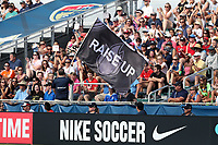 Cary, North Carolina  - Saturday June 03, 2017: Courage fans during a regular season National Women's Soccer League (NWSL) match between the North Carolina Courage and the FC Kansas City at Sahlen's Stadium at WakeMed Soccer Park. The Courage won the game 2-0.