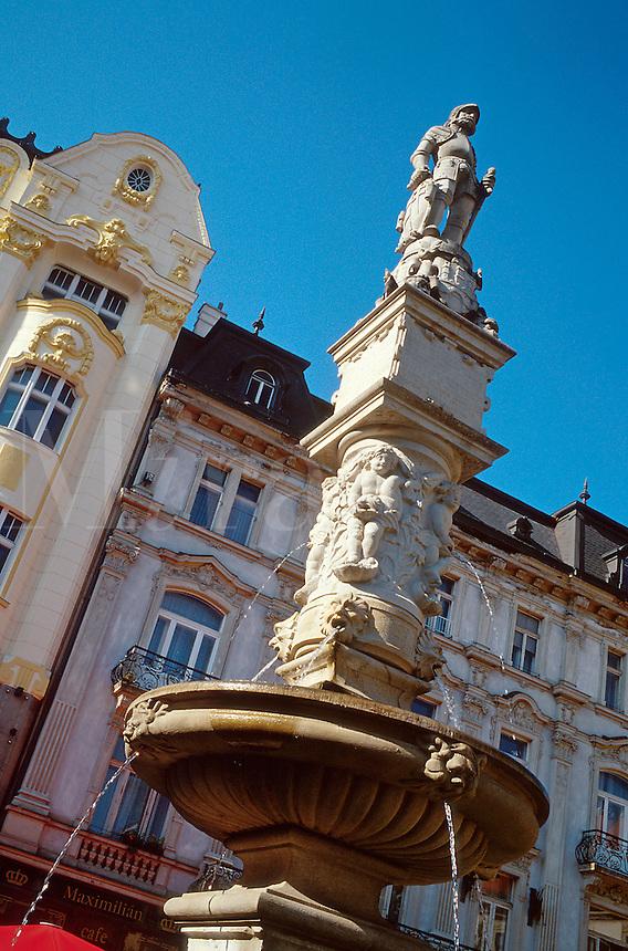 Roland's Fountain (1572) in Hlavne namestie (main square) in Stare Mesto (Old Town) 1031513. Bratislava, Slovakia.