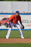 New York Mets second baseman Robinson Cano (4), on rehab assignment with the Syracuse Mets, during a game against the Charlotte Knights on June 11, 2019 at NBT Bank Stadium in Syracuse, New York.  (Mike Janes/Four Seam Images)