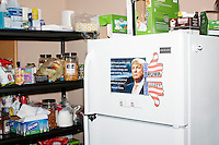 A view of the pantry and fridge in the campaign headquarters of Republican presidential candidate Donald Trump in Manchester, New Hampshire, on the day of the primary, Tues., Feb. 9, 2016. Donald Trump won the primary.
