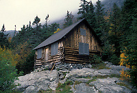 AJ1797, Long Trail, mountain, hiking, Stowe, Vermont, Mount Mansfield, Hikers log cabin on the Long Trail near Mt. Mansfield.