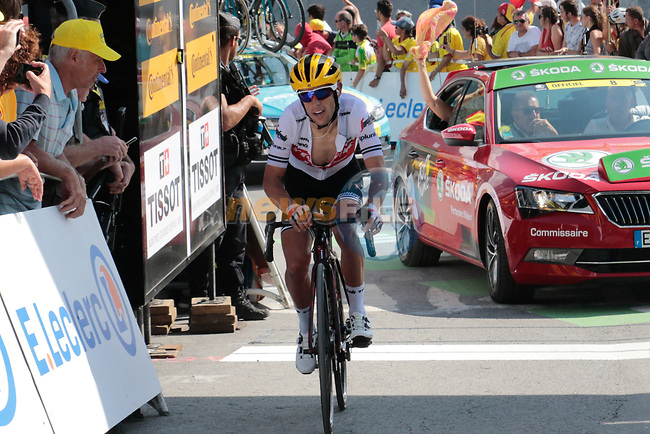 "Richie Porte (AUS) Trek-Segafredo crosses the finish line in 14th place 2'05"" down atop the Col du Tourmalet at the end of Stage 14 of the 2019 Tour de France running 117.5km from Tarbes to Tourmalet Bareges, France. 20th July 2019.<br /> Picture: Colin Flockton 