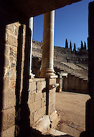Entrance to the stage; Scenae frons, built in 105 AD and restored between 333 and 335 AD; Roman Theatre, built in 16 - 15 BC, promoted by Marcus Vipsanius Agrippa (63 BC-12 BC), Merida (Augusta Emerita, Capital of Hispania Ulterior), Extremadura, Spain
