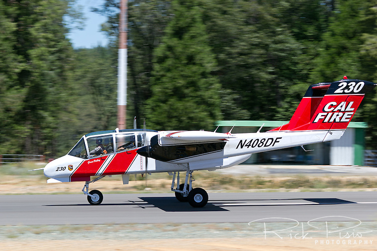Cal Fire OV-10 Bronco on takeoff roll for a firefighting mission. The California Department of Forestry and Fire Protection utilizes the OV-10 Bronco as a lead-in aircraft for the air tankers as well as an aerial platform from which the entire air operation is coordinated. The CAL FIRE Broncos fly with a crew of two, a pilot and the Air Attack Officer, whose job it is to coordinate all aerial assets on a fire with the Incident Commander on the ground.