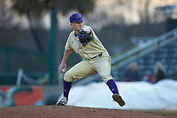 Western Carolina Catamounts relief pitcher Nick Hyde (28) in action against the Saint Joseph's Hawks at TicketReturn.com Field at Pelicans Ballpark on February 23, 2020 in Myrtle Beach, South Carolina. The Hawks defeated the Catamounts 9-2. (Brian Westerholt/Four Seam Images)