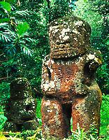 Hiva Oa Island, Marquesas Islands, French Polynesia    Ancient deity figures in rainforest