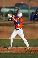 Colton Seubert (5) of the Glenn Bobcats at bat against the Mallard Creek Mavericks at Dale Ijames Stadium on March 22, 2017 in Kernersville, North Carolina.  The Bobcats defeated the Mavericks 12-2 in 5 innings.  (Brian Westerholt/Four Seam Images)