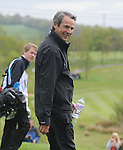 Scotland's  Alan Hansen laughs with the punters as he walks off the 5th ..Celebrity Cup at Golf Live  - Day 2 - Celtic Manor Resort - Saturday 11th  May  2013 - Newport ..© www.sportingwales.com- PLEASE CREDIT IAN COOK