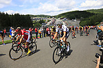 The peloton inlcuding German National Champion Emanuel Buchmann (GER) Bora-Hansgrohe climb Eau Rouge on the famous Spa-Francorchamps Motor Circuit during Stage 3 of the 104th edition of the Tour de France 2017, running 212.5km from Verviers, Belgium to Longwy, France. 3rd July 2017.<br /> Picture: Eoin Clarke | Cyclefile<br /> <br /> All photos usage must carry mandatory copyright credit (&copy; Cyclefile | Eoin Clarke)