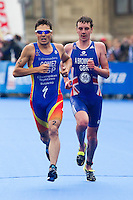 11 SEP 2010 - BUDAPEST, HUN - Javier Gomez leads Alistair Brownlee at the start of a run lap during the 2010 Elite Mens ITU World Championship Series Triathlon final (PHOTO (C) NIGEL FARROW)