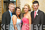 Coláiste Íde agus Iosef Community College, Abbeyfeale, Debs in the Abbeygate Hotel, Tralee on Thursday. Pictured, l-r: Liam Lacken, Danielle Meehan, Marie O'Connell and Jamie Lenihan.