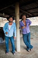 Leonardo and Felix enjoying a mezcal at Felix Garcia´s ranch and distillery in El Potrero, Oaxaca, Oaxaca, Mexico