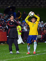 Serbia coach Veljko Paunovic watches Brazil's Joao Pedro throw in during the FIFA Under-20 Football World Cup Final between Brazil (gold) and Serbia at North Harbour Stadium, Albany, New Zealand on Saturday, 20 June 2015. Photo: Dave Lintott / lintottphoto.co.nz