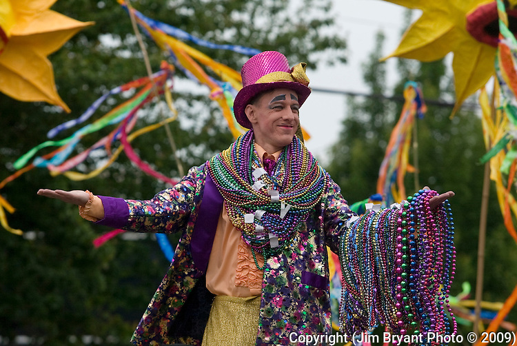 Bob Watson gestures to the crowd in the 21st annual Summer Solstice Parade held Saturday, June 20, 2009 in Seattle, Wa. The parade was held Saturday, bringing out painted and naked bicyclists, bands, belly dancers and floats. (Jim Bryant Photo © 2009).