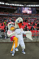 Pictured: Swansea mascots, Cybil (L) and Cyril (R) .