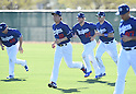 (2L-R) Kenta Maeda, Clayton Kershaw, A.J. Ellis (Dodgers),<br /> FEBRUARY 21, 2016 - MLB :<br /> Los Angeles Dodgers spring training baseball camp in Glendale, Arizona, United States. (Photo by AFLO)