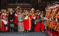 "18 May 2016 - London England - Members of the Lords take photographs of Yeoman warders as they begin the traditional ""ceremonial search"" in the Prince's chamber in the houses of Parliament. The search marks the start of the ornate State opening of Parliament ceremony. The State Opening of Parliament marks the formal start of the parliamentary year and the Queen's Speech sets out the government's agenda for the coming session. Photo Credit: ALPR/AdMedia"