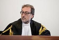 Roma, 19 Novembre 2015<br /> Renato Orfanelli Giudice a latere<br /> Aula bunker di Rebibbia<br /> Terza udienza del processo Mafia Capitale, Roma Capitale, avvocati,