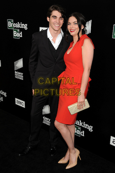 RJ Mitte, Jodi Lyn O'Keefe<br /> &quot;Breaking Bad&quot; Final Episodes Los Angeles Premiere Screening held at Sony Pictures Studios, Culver City, California, USA, 24th July 2013.<br /> full length dress black suit white shirt  red lipstick cleavage <br /> CAP/ADM/BP<br /> &copy;Byron Purvis/AdMedia/Capital Pictures