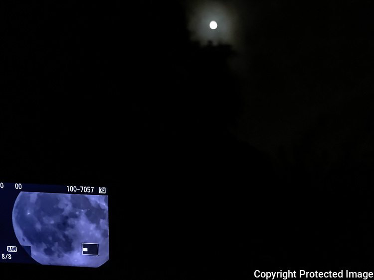 The camera and lens are lost in the shadows, but the LCD display of the Full Corn Moon is visible, as is the moon itself, above the trees.