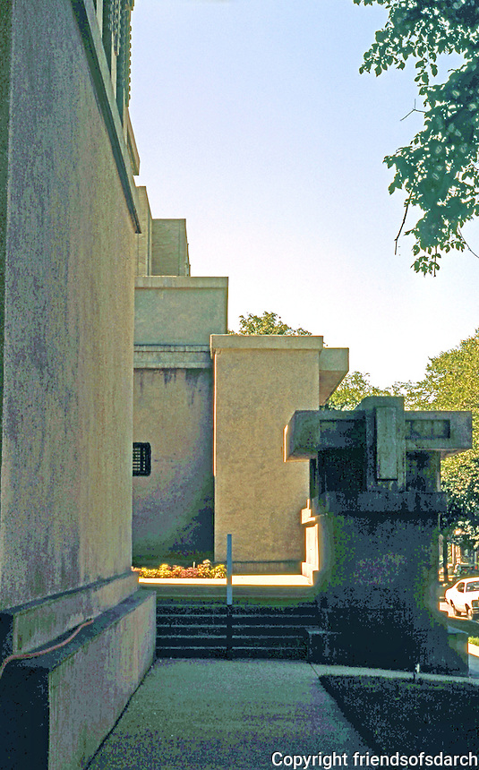 F.L. Wright: Unity Temple. Entrance.  Photo '76.
