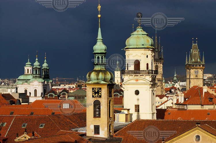 Church Spires punctuating the skyline in Stare Mesto, the old town centre.
