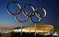 July 22, 2012..View of the Olympics rings and Velodrome located in the Olympics in London, Great Britain.