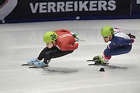 SHORTTRACK: DORDRECHT: Sportboulevard Dordrecht, 24-01-2015, ISU EK Shorttrack, Shaoang LIU (HUN | #36), Vincent JEANNE (FRA | #20), ©foto Martin de Jong