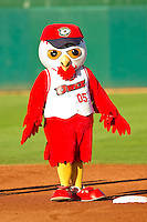 Orem Owlz mascot Hootz between innings of the Pioneer League game against the Missoula Osprey at Brent Brown Ballpark on July 23, 2012 in Orem, Utah.  The Owlz defeated the Osprey 6-1.  (Brian Westerholt/Four Seam Images)
