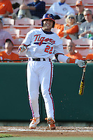 Catcher Spencer Kieboom #22 of the Clemson Tigers fouls off a pitch during  a game against the North Carolina Tar Heels at Doug Kingsmore Stadium on March 9, 2012 in Clemson, South Carolina. The Tar Heels defeated the Tigers 4-3. Tony Farlow/Four Seam Images.