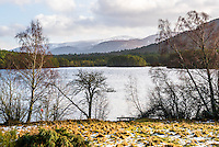 Loch an Eilein with Cairngorm Mountain behind, Aviemore, Cairngorms National Park, Scotland