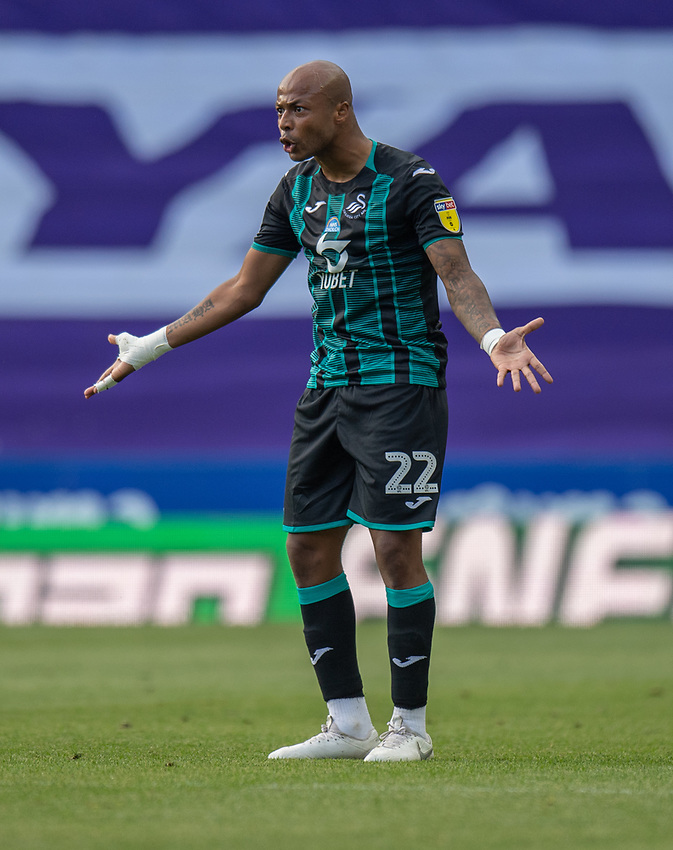 Swansea City's Andre Ayew<br /> <br /> Photographer David Horton/CameraSport<br /> <br /> The EFL Sky Bet Championship - Reading v Swansea City - Wednesday July 22nd 2020 - Madejski Stadium - Reading <br /> <br /> World Copyright © 2020 CameraSport. All rights reserved. 43 Linden Ave. Countesthorpe. Leicester. England. LE8 5PG - Tel: +44 (0) 116 277 4147 - admin@camerasport.com - www.camerasport.com