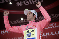 """ooph; I made it..."" Alberto Contador (ESP/Tinkoff-Saxo) loses time on his main rivals in this stage, but is now (as good as) sure of the overall victory in Milan (tomorrow)<br /> <br /> Giro d'Italia 2015<br /> (finish of) stage 20: Saint Vincent - Sestriere (199km)"