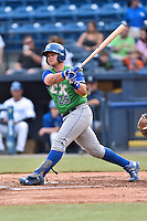 Lexington Legends catcher Chase Vallot (25) swings at a pitch during a game against the Asheville Tourists at McCormick Field on April 19, 2016 in Asheville, North Carolina. The Legends defeated the Tourists 11-9. (Tony Farlow/Four Seam Images)