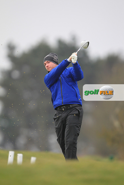 Eoin Arthurs (Forest Little) on the 1st teeing off in the Hilary golf society in Co Louth Golf Club 24/3/13.Picture: Fran Caffrey / www.golffile.ie ..