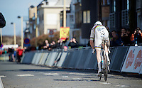 Sir Bradley Wiggins (GBR/Sky) off the start podium for his final TT as a World TT Champion<br /> <br /> 3 Days of De Panne 2015<br /> stage 3b: De Panne-De Panne TT