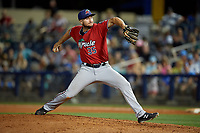 Fort Myers Miracle relief pitcher Hector Lujan (35) during a Florida State League game against the Charlotte Stone Crabs on April 6, 2019 at Charlotte Sports Park in Port Charlotte, Florida.  Fort Myers defeated Charlotte 7-4.  (Mike Janes/Four Seam Images)