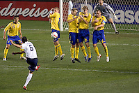 USA defender (6) Ramiro Corrales attempts a free kick around a wall of Sweden players late in the second half. The United States defeated Sweden 2-0 during an international friendly at the Home Depot Center in Carson, California on Saturday, January 19, 2008.