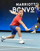 7th January 2020; Sydney Olympic Park Tennis Centre, Sydney, New South Wales, Australia; ATP Cup Australia, Sydney, Day 5; Great Britain versus Moldova; Daniel Evans of Great Britain versus Radu Albot of Moldova;  - Editorial Use