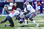 TCU Horned Frogs running back Aaron Green (22) in action during the game between the Texas Tech Red Raiders and the TCU Horned Frogs at the Amon G. Carter Stadium in Fort Worth, Texas. TCU defeats Texas Tech 82 to 27.