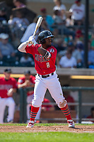 J.D. Salmon-Williams (8) of the Billings Mustangs at bat against the Missoula Osprey at Dehler Park on August 20, 2017 in Billings, Montana.  The Osprey defeated the Mustangs 6-4.  (Brian Westerholt/Four Seam Images)