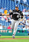 22 April 2010: Colorado Rockies' catcher Miguel Olivo rounds the bases after hitting a solo home run against the Washington Nationals at Nationals Park in Washington, DC. The Rockies shut out the Nationals 2-0 gaining a 2-2 series split. Mandatory Credit: Ed Wolfstein Photo