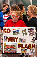 Western New York Flash fan. The Portland Thorns defeated the Western New York Flash 2-0 during the National Women's Soccer League (NWSL) finals at Sahlen's Stadium in Rochester, NY, on August 31, 2013.