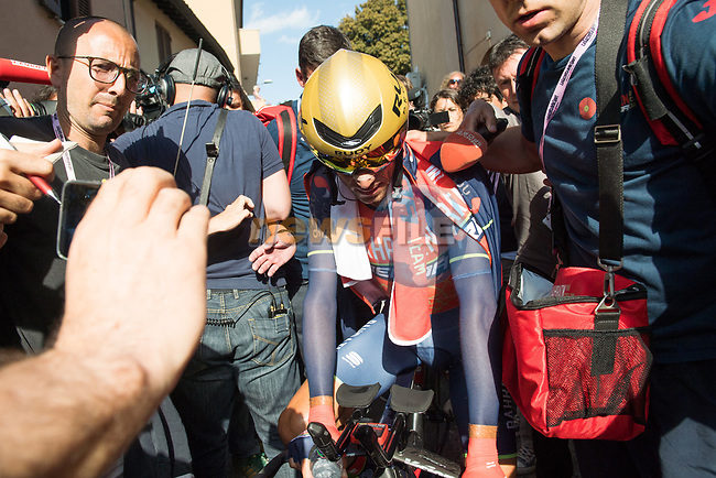 Vincenzo Nibali (ITA) Bahrain-Merida at the end of Stage 10 the Sagrantino Stage of the 100th edition of the Giro d'Italia 2017, an individual time trial running 39.8km from Foligno to Montefalco, Italy. 16th May 2017.<br /> Picture: LaPresse/Massimo Paolone | Cyclefile<br /> <br /> <br /> All photos usage must carry mandatory copyright credit (&copy; Cyclefile | LaPresse/Massimo Paolone)