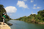 Israel, Sharon region, Hadera River