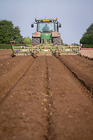 Triple bed tiller, rotary cultivating for daffodil bulb planting - August, South Lincolnshire