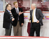 Mike Cavanaugh (BC - Associate Head Coach), Greg Brown (BC - Assistant Coach), Jerry York (BC - Head Coach) - The visting Boston University Terriers defeated the Boston College Eagles 5-3 (EN) on Friday, December 2, 2011, at Kelley Rink in Conte Forum in Chestnut Hill, Massachusetts.