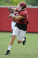 NWA Democrat-Gazette/ANDY SHUPE<br /> Arkansas tight end Jack Kraus makes a catch Tuesday, Aug. 1, 2017, during practice at the university's practice field in Fayetteville. Visit nwadg.com/photos to see more photographs from the day's practice.